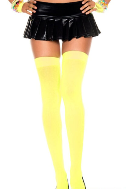 Opaque Thigh Highs Neon Yellow
