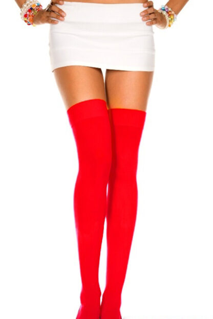 Opaque Thigh Highs Red