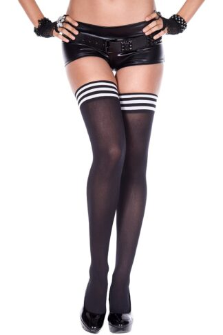 Striped Top Opaque Thigh Hi - Black & White