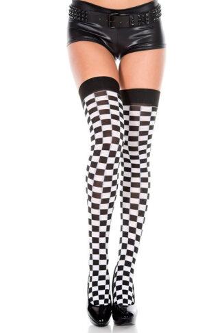 Checker Print Thigh Hi - Black & White