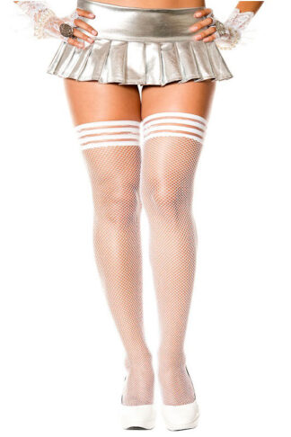 Ribbed Top with Silicone Fishnet Thigh Hi - Queen Size (White)