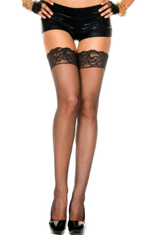 Fishnet Thigh High with Silicone Lace Top 4992 BLACK