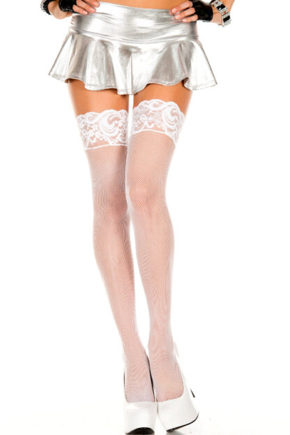 Fishnet Thigh High with Silicone Lace Top 4992 White