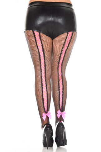 Corset Back Fishnet Pantyhose - Queen Size (Black with Hot Pink Lace)
