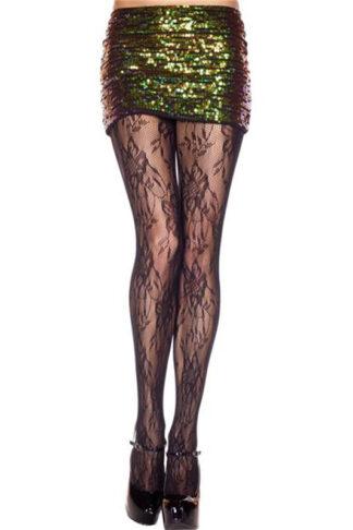 Vintage Design Lace Spandex Pantyhose - Black