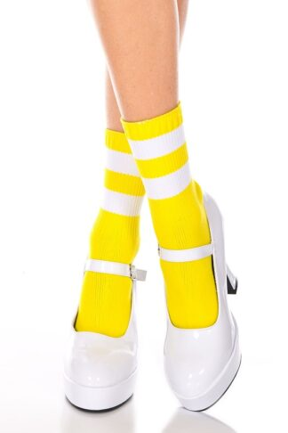 Acrylic Ankle High with Striped Top - Comes in 9 Colors Yellow & White