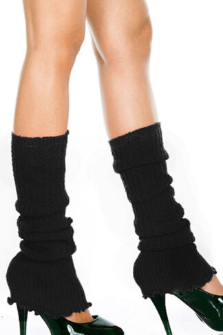 Ribbed Acrylic Footless Leg Warmers - Black