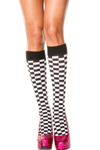 Checkerboard Opaque Knee Hi - Black & White
