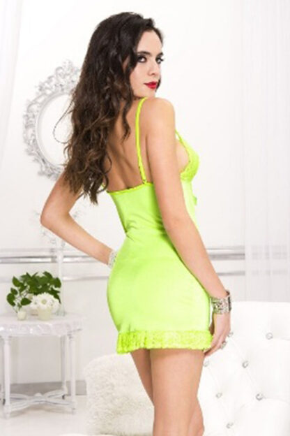 Keyhole Lace Bra Cups Dress with Lace Trim - Neon Green Back