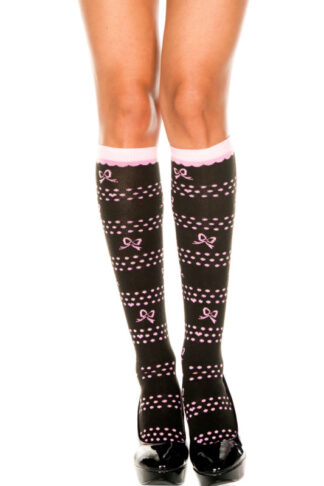 Knee Hi with Bow Polka Dots and Hearts Design