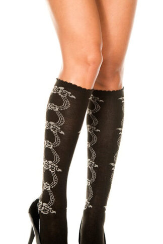 Acrylic Knee Hi with Floral Design - Black