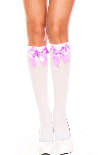 Satin Bow Knee Hi - White & Baby Pink