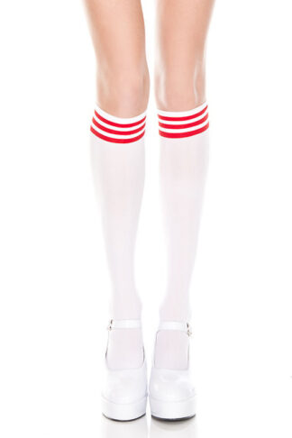 Striped Top Opaque Knee High - ( Comes in 4 Color ) White & Red