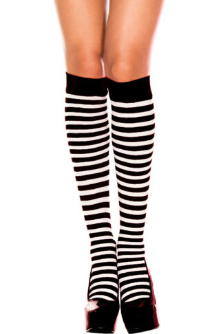 Striped Knee Hi - Black & White