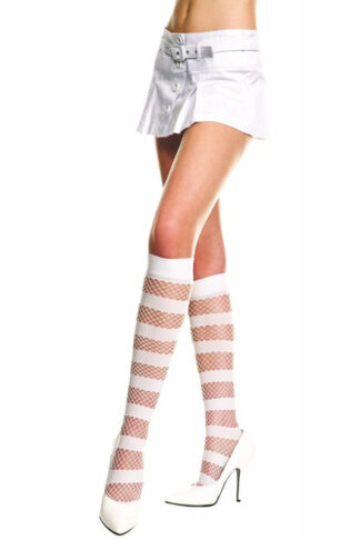 Opaque and Diamond Net Knee Hi - White