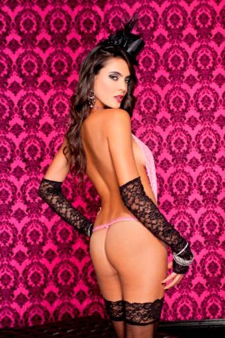 Lace Halter Neck Teddy with Cheetah Print G String - Neon Pink Back
