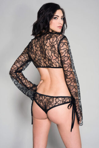 Tie Front Top with Matching Side Tying Strings Panty - Black Back