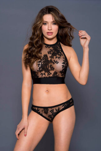 Halter Neck Lace Crop Top with Matching Lace Panty - Black