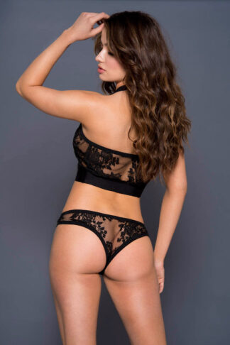 Halter Neck Lace Crop Top with Matching Lace Panty - Black Back