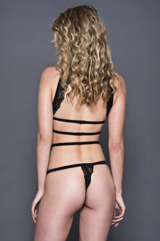 Strappy Lace Halter Top with High Waist Matching Panty - Black Back