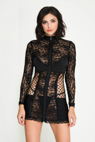 Zipper Front Lace Long Sleeve Mini Dress with Side Fishnet Panels - Black