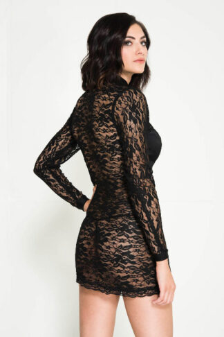 Zipper Front Lace Long Sleeve Mini Dress with Side Fishnet Panels - Black Back