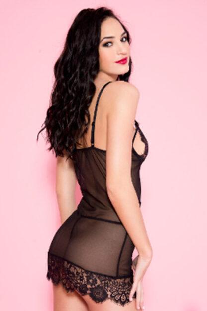 Eyelash Lace Mini with Hemline Detail - Black Back