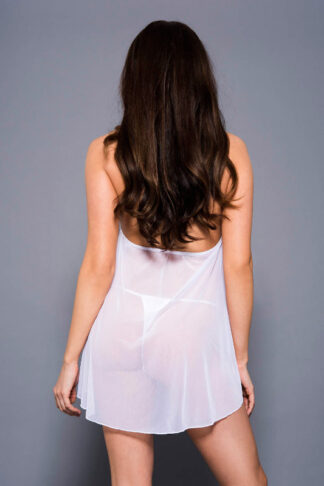 Peek-a-Boo lace and Mesh Babydoll with Low Open Back and G-string - White Back