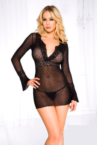 Long sleeve daisy deep-V mini dress with g-string Front