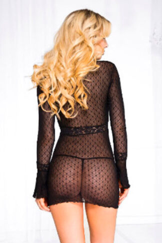 Long sleeve daisy deep-V mini dress with g-string Back
