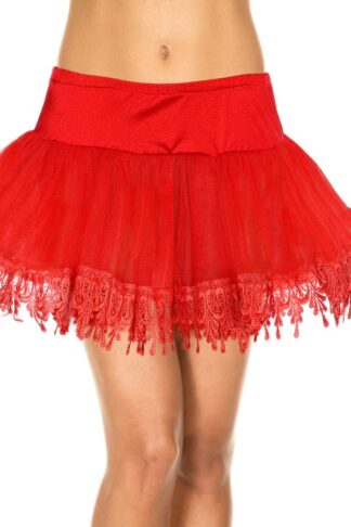 Tear Drop Net Petticoat Skirt - Red