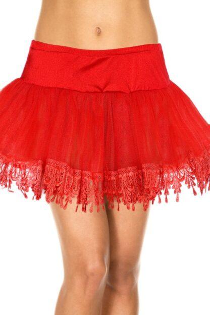 Tear Drop Net Petticoat Skirt - Red