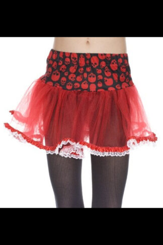 Gothic Skeleton Print Lace Trim Petticoat Skirt