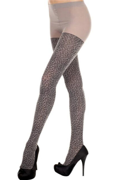 Leopard Spandex Tights - Gray