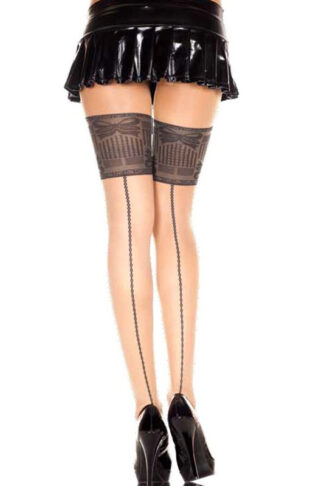 Backseam and Faux Big Lace Spandex Pantyhose - Beige