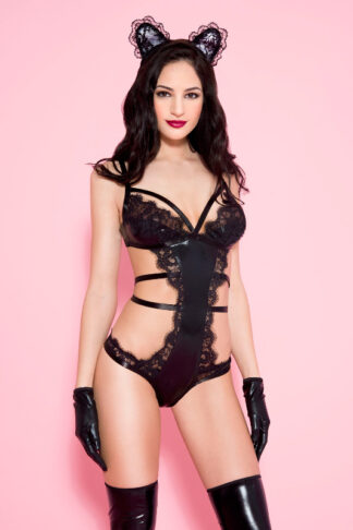 Eyelash Lace & Wet Look Teddy - Black