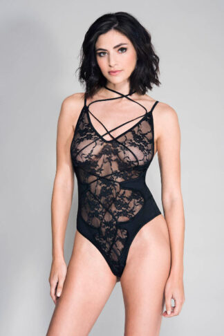 Criss Cross Front Strap Lace Teddy - Black