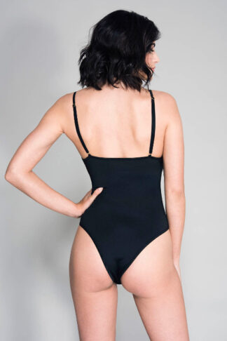 Criss Cross Front Strap Lace Teddy - Black Back