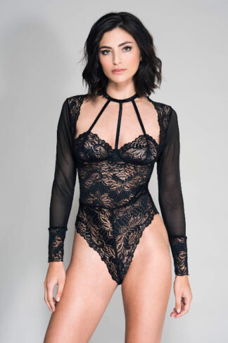 Long Sleeve Mesh & Lace Teddy With Strappy Front Details - Black