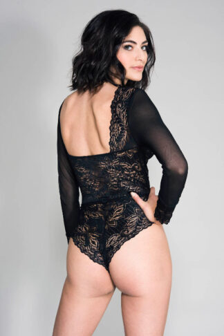 Long Sleeve Mesh & Lace Teddy With Strappy Front Details - Black Back