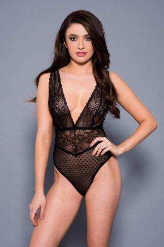 Floral Lace Bodysuit - Black