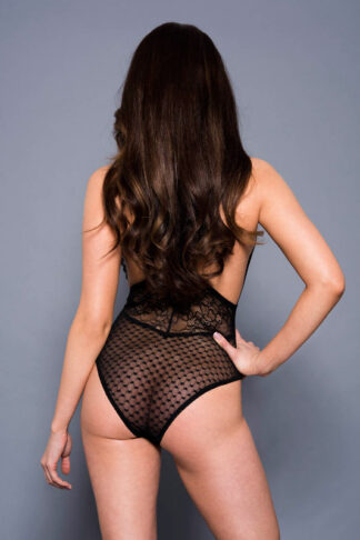 Floral Lace Bodysuit - Black Back