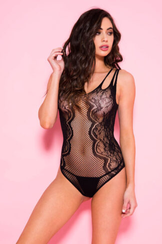 Shredded Straps Multiple Net Teddy - Black