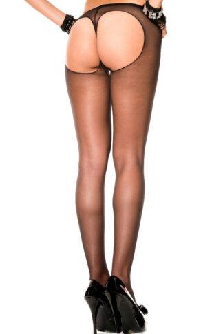 String Back Sheer Pantyhose - Black