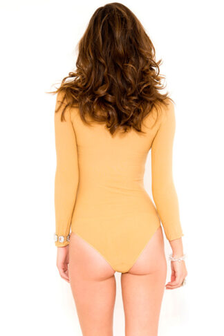 Long Sleeve Opaque Teddy - Beige Back