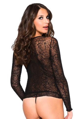 Long Sleeve Spider Web Cami - Black Back