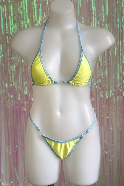 Siren Doll Micro Cup Bikini Set - Lemon & Baby Blue Front