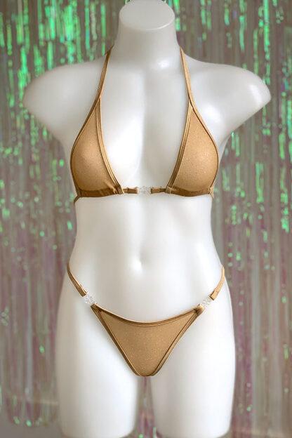Siren Doll Micro Cup Bikini Set - Sheer Beige with Gold Glitter Front