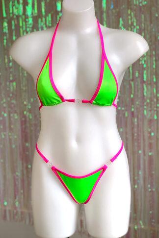 Siren Doll Micro Cup Bikini Set - Neon Green & Neon Pink Front