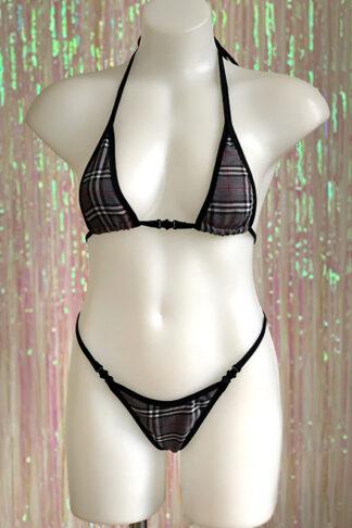Siren Doll Micro Cup Bikini Set - Tartan Grey Front